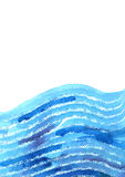 Watercolor hand painted background with abstract blue waves. Stock Images