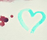 Watercolor hand painted background with heart. Royalty Free Stock Images