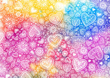 Watercolor hand painted background with hearts Royalty Free Stock Image