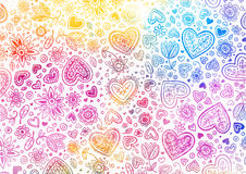 Watercolor hand painted background with hearts Stock Photo
