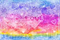 Watercolor hand painted background with hearts Royalty Free Stock Images