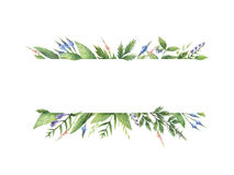 Watercolor hand painted banner with herbs and spices. Royalty Free Stock Photos