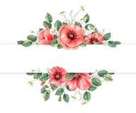 Watercolor hand painted banner with wildflowers and leaves. Perfect for invitation, wedding or greeting cards. Floral design element with space for text vector illustration
