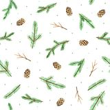 Cute Seamless Christmas Pattern with Spruce, Branches and Fir Cones on White Background. Watercolor Hand painted brown pine cones and green spruce branches with vector illustration
