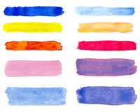 Watercolor hand painted brush strokes banners collection Stock Photos