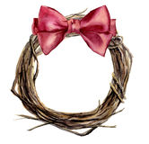 Watercolor hand painted christmas wreath of twig with pink bow. Wood wreath for design, print or background.  Stock Image