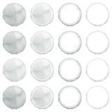 Watercolor hand painted circle shape design elements. Grey banners set. Watercolor stains set isolated on white background Royalty Free Stock Images