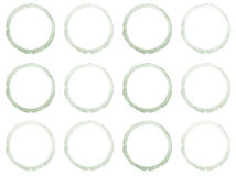Watercolor hand painted circle shape design elements. Grey banners set. Watercolor stains set isolated on white background Royalty Free Stock Photos