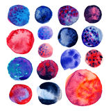 Watercolor hand painted circle shape design elements. Hand drawn dark blue and red watercolor circles isolated on white Stock Photos
