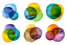 Watercolor hand painted circles collection Stock Photos