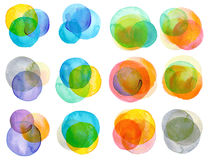 Watercolor hand painted circles collection. Isolated Stock Image