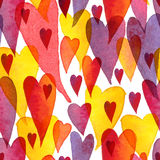 Watercolor hand painted colorfull pattern with hearts Stock Photos