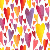 Watercolor hand painted colorfull pattern with hearts Royalty Free Stock Photography
