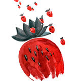 Watercolor hand painted composition with strawberry. Watercolor hand painted composition with red strawberry stock illustration