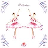Watercolor hand painted compositions of ballerinas, peonies, twigs vector illustration