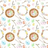 Watercolor hand painted Easter seamless pattern with colored eggs, bird nest, twigs, tree branch, wreath. Decorative elements. Collection for spring holiday royalty free stock photos