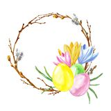 Watercolor hand painted Easter wreath with colored eggs, twigs, tree branch, crocus flowers isolated. Easter symbols set. Watercolor hand painted Easter wreath vector illustration
