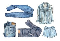 Denim clothes set. watercolor illustration vector illustration