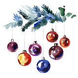 Watercolor hand painted fir-tree branches with New Year`s balls Stock Photos