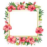 Watercolor hand-painted floral banner in tropical style Royalty Free Stock Photo