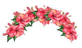 Watercolor hand-painted floral banner in tropical style Royalty Free Stock Photos