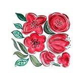 Watercolor hand painted floral composition in red royalty free illustration