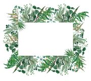 Watercolor hand painted green frame, leaf wreath,invitation template. Hand Painted Watercolor Leaves Frame, perfect for greeting card, wedding invites,crafts Stock Photos