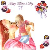 Watercolor hand-painted greeting card Happy Mother`s day royalty free illustration