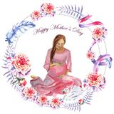 Watercolor hand-painted greeting card Happy Mother`s day vector illustration