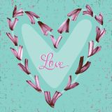 Watercolor hand painted hearts with text Love on blue backdrop. Stock Photography