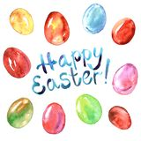 Watercolor hand painted illustration with Easter eggs. Hand painted illustration with Easter eggs, greeting card Royalty Free Stock Image
