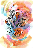Watercolor hand painted illustration with orange petunia. On bright multicolor background royalty free illustration