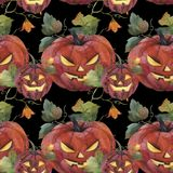 Watercolor seamless pattern. Halloween illustration. Spooky pump royalty free illustration