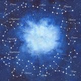 Watercolor hand painted illustration of the space with bright blue nebula, shiny stars and zodiac constellations Stock Photos