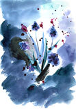 Watercolor hand painted illustration with spring flowers. Muskar on blue background stock illustration