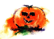 Watercolor hand painted orange halloween pumpkin  on white background Royalty Free Stock Photos