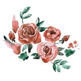 Watercolor hand painted pink roses. Invitation. Wedding card. Birthday card. Watercolor hand painted background with pink roses. Invitation. Wedding card Stock Photography