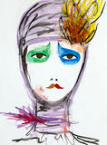 Hand drawn illustration of sad clown woman. Watercolor hand painted portrait of a woman, with clown inspired make-up Royalty Free Stock Image