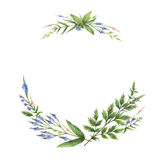 Watercolor hand painted rectangular wreaths with herbs and spices. Stock Photo