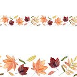 Watercolor hand painted seamless border with autumn leaves and branches.