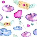 Watercolor hand painted seamless pattern with pink balloon, craft envelope