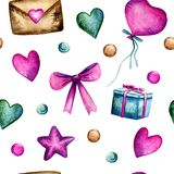 Watercolor hand painted seamless pattern with pink and turquoise hearts, pink bow and balloon, present in blue box, brown envelope