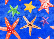 Watercolor hand painted seamless pattern with starfish Stock Images