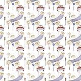 Watercolor hand painted seamless pattern vehicles traffic cartoon illustration for children. Road, retro car, tree, bush, sign, s. Treet, cartoon illustration vector illustration
