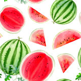 Watercolor hand painted seamless pattern with watermelon Stock Photos
