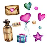 Watercolor hand painted set for St. Valentine's Day with glass vintage vial, pink and turquoise hearts and beads, violet star,