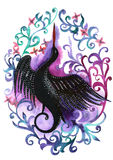Watercolor hand painted silhouette of a black stork in a flower frame in violet. Colors royalty free illustration
