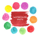 Watercolor hand painted spots set Stock Image