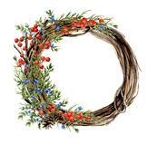 Watercolor Hand Painted Winter Wreath Of Twig. Wood Wreath With Red And Blue Winter Berries And Juniper. Natural Stock Photos
