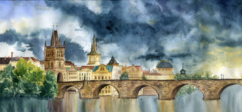 Watercolor hand painting Praha and Karlov most. Illlustration with Tower and the bridge, view of the city. Stock Photos
